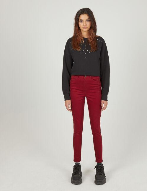pantalon skinny taille haute bordeaux