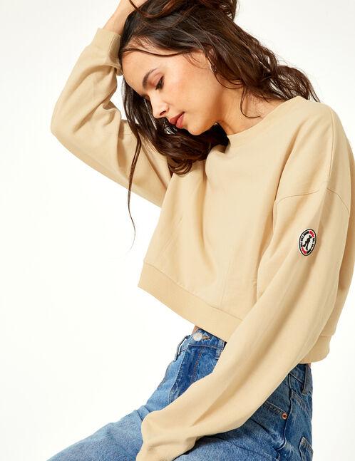 Cropped beige sweatshirt