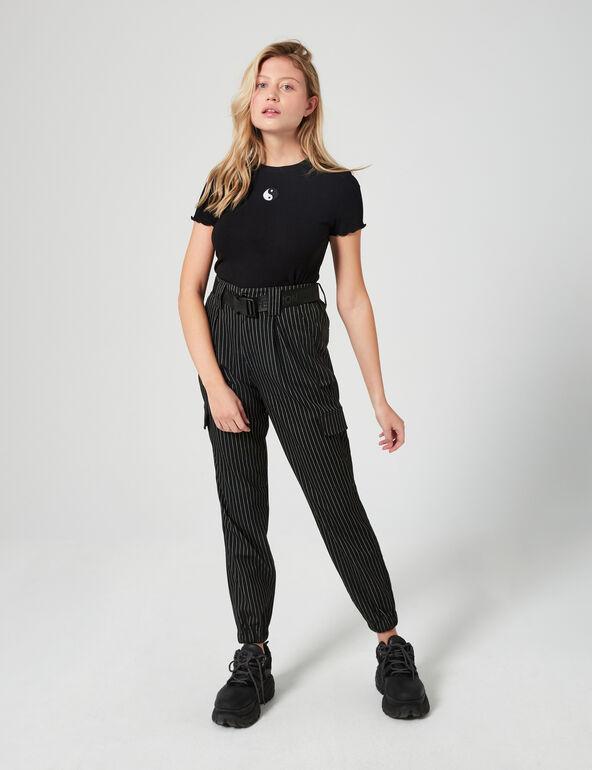 Yin and yang ribbed T-shirt