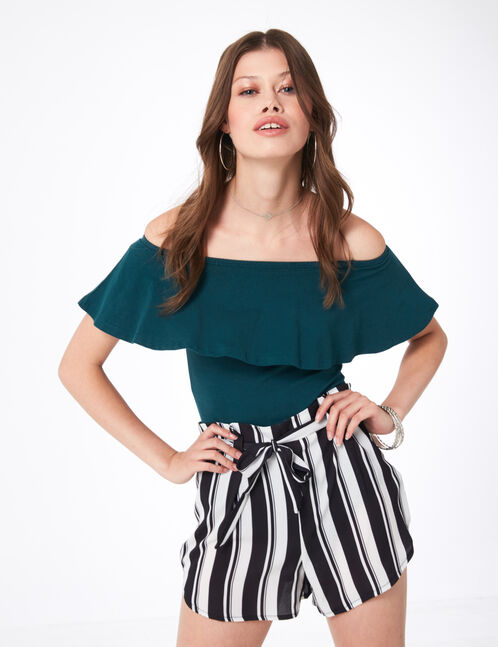 Green bodysuit with frill detail