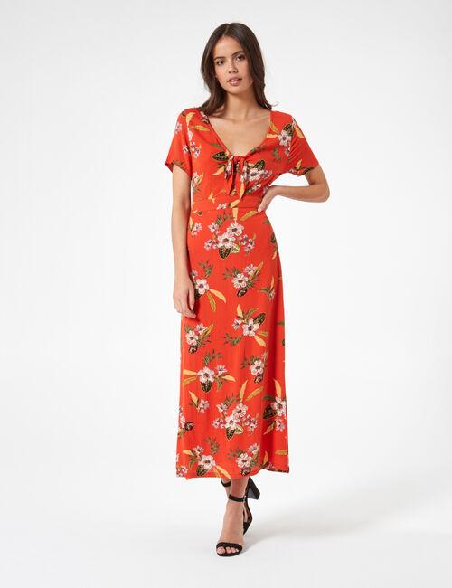 Robe longue fleurie rouge