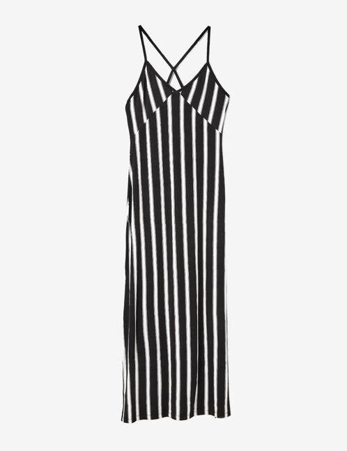 robe longue rayée noire et blanche