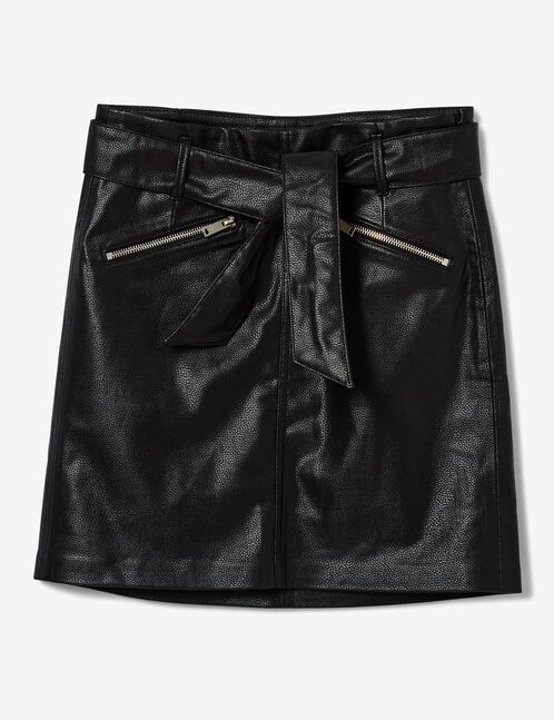Black faux leather skirt with belt
