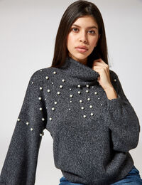 Jennyfer pull avec perles gris anthracite chiné