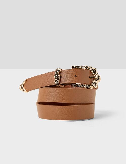 Camel metallic floral belt