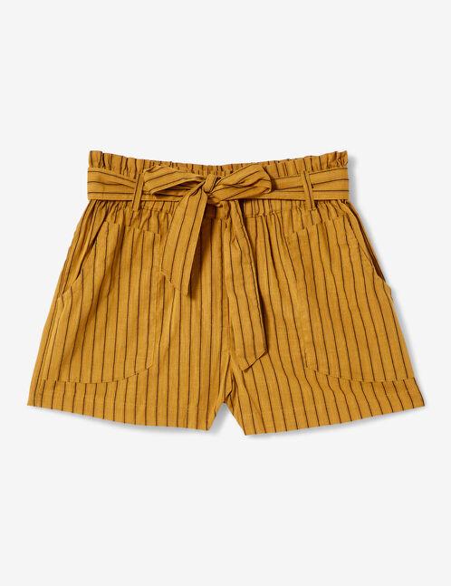 short rayé taille haute jaune foncé