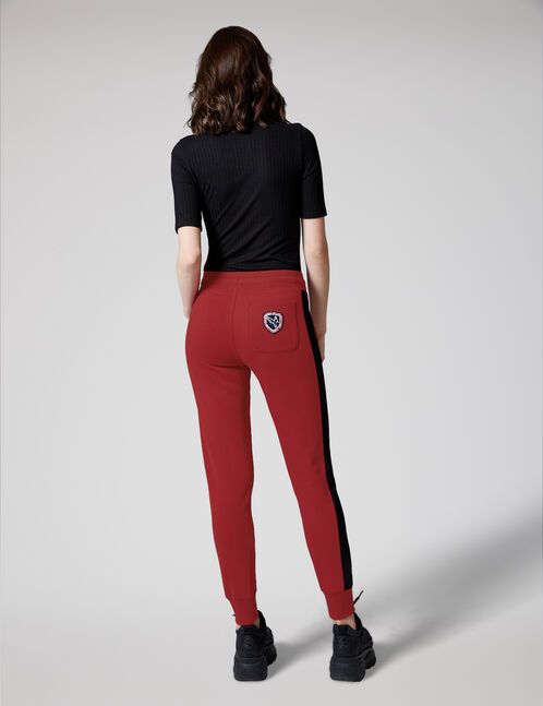 Burgundy and black joggers with side stripe detail