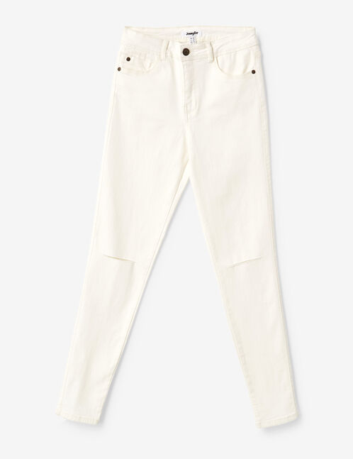 Cream high-waisted ripped trousers