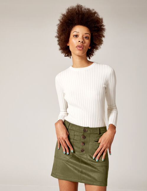 Khaki faux suede skirt with pockets