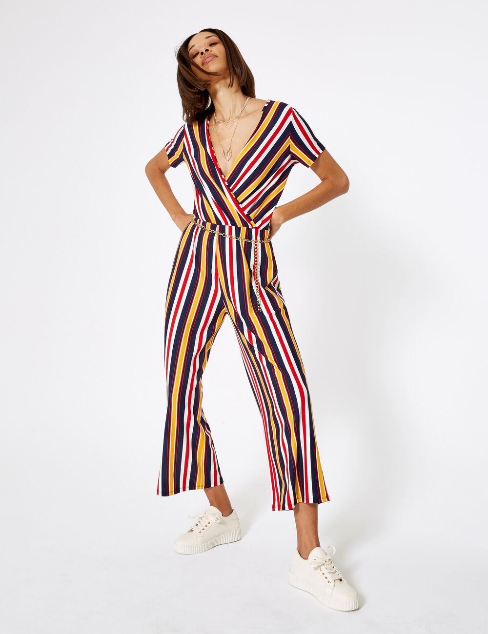 Cream Navy Blue Red And Ochre Striped Jumpsuit Woman Jennyfer