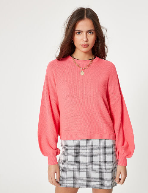 Neon pink loose-fit textured jumper