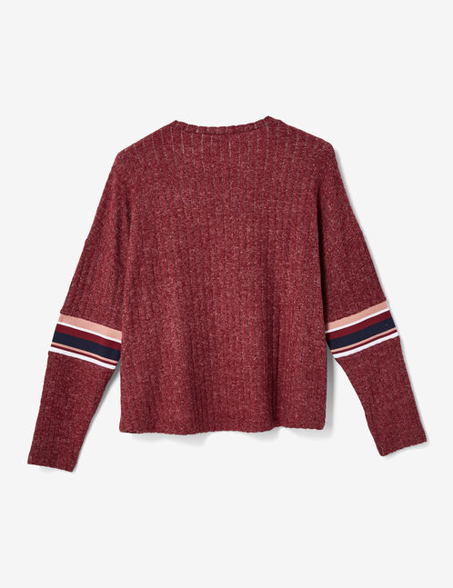 Burgundy marl ribbed top with text design detail