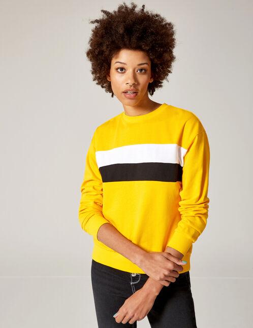 Yellow, white and black sweatshirt with trim detail