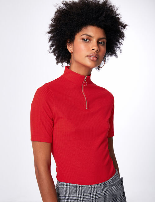 tee-shirt zippé rouge
