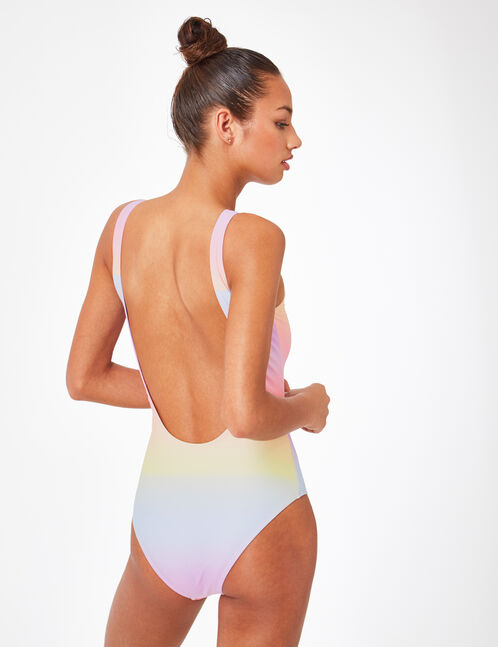 Multicoloured swimsuit with text design detail