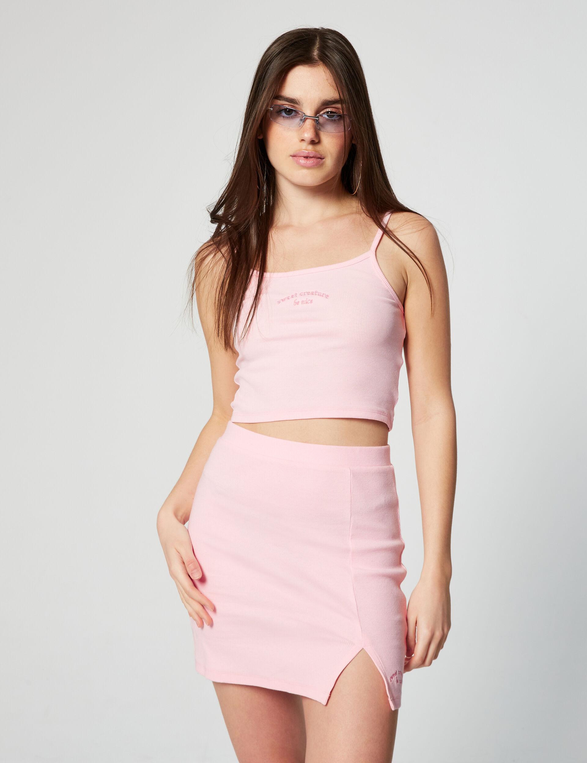Ribbed short skirt