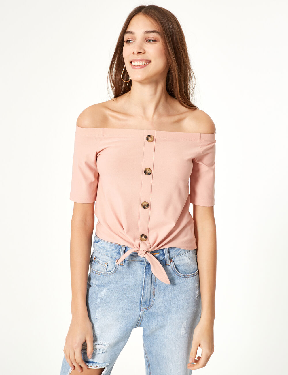 d6d941525a7 Pale pink off-the-shoulder top woman • Jennyfer
