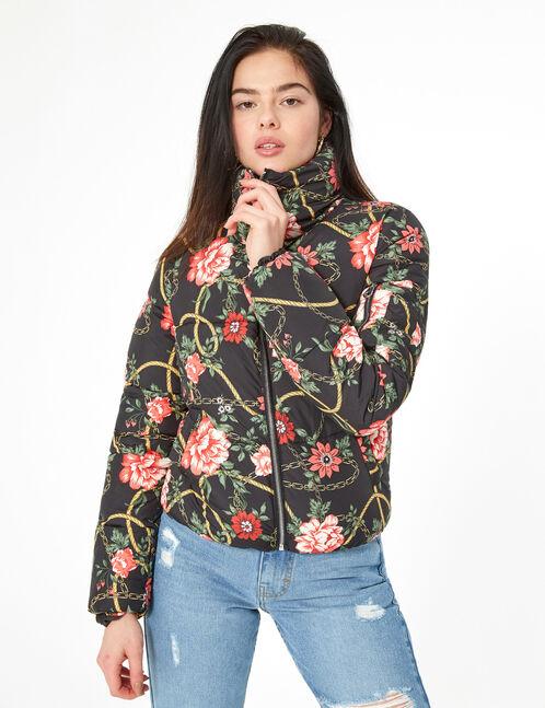 Doudoune fleurie noire