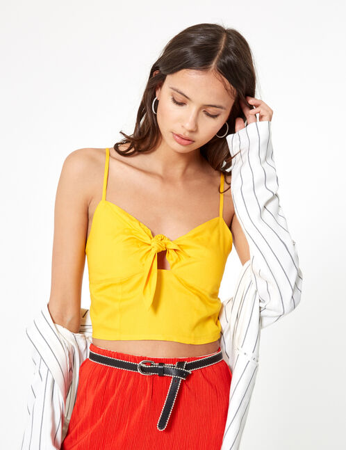 Yellow crop top with knot detail