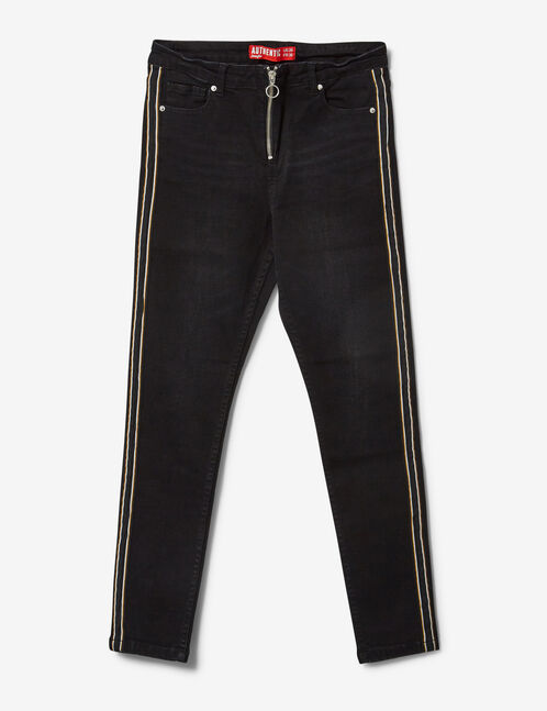 Black zipped jeans with stripe detail