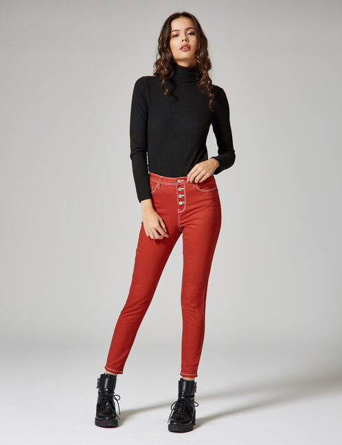 Rust-coloured high-waisted skinny trousers