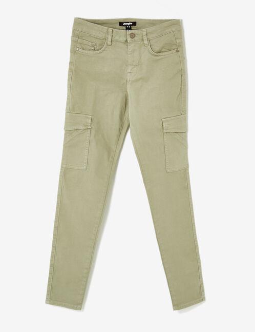 pantalon cargo à poches kaki clair