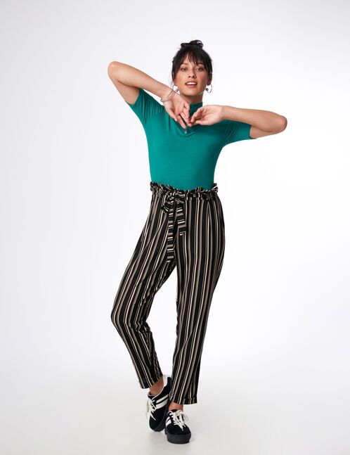 Black and white striped loose-fit trousers