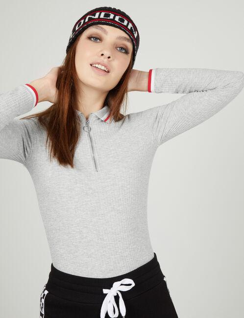 Grey marl polo shirt-style top