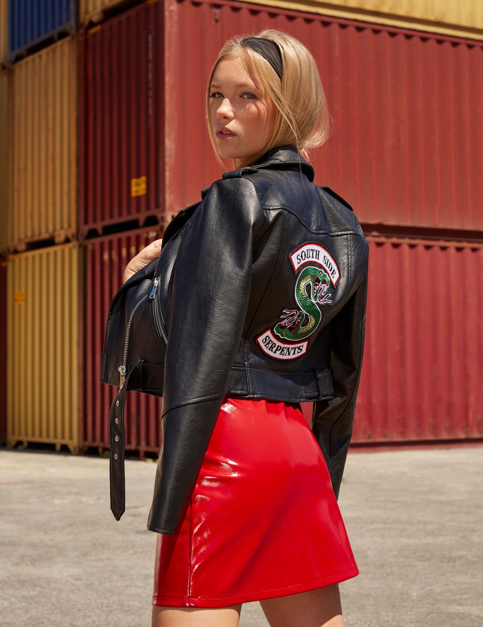 veste en cuir rouge jennifer